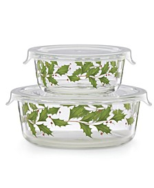 Glass Food Storage Bowls, Set of 2