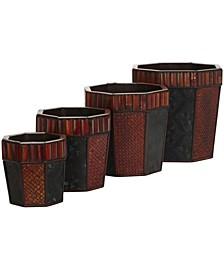 Bamboo Octagon Decorative Planters - Set of 4