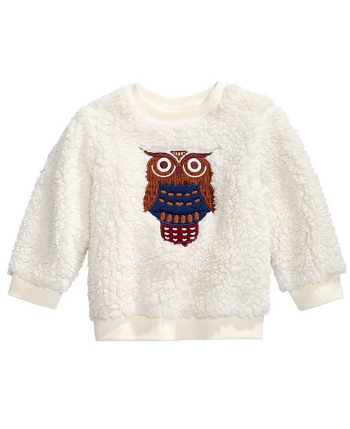 First Impressions Baby Boys Fuzzy Owl Sweatshirt, Created For Macy's
