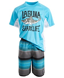 Toddler & Little Boys 2-Pc. Sharklife Rash Guard & Swim Shorts Set