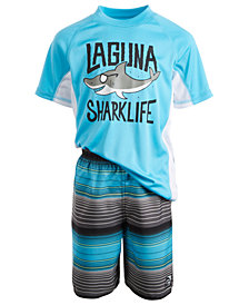 Laguna Toddler & Little Boys 2-Pc. Sharklife Rash Guard & Swim Shorts Set