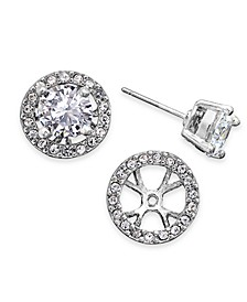 INC Silver-Tone Crystal Earring Jackets, Created For Macy's