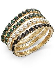 INC Gold-Tone 4-Pc. Set Crystal & Imitation Pearl Stretch Bracelets, Created For Macy's