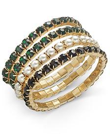 I.N.C. Gold-Tone 4-Pc. Set Crystal & Imitation Pearl Stretch Bracelets, Created For Macy's
