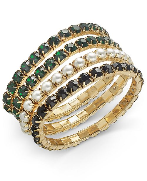 INC International Concepts INC Gold-Tone 4-Pc. Set Crystal & Imitation Pearl Stretch Bracelets, Created For Macy's