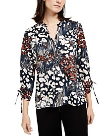 Petite Animal-Print Y-Neck Zip Top