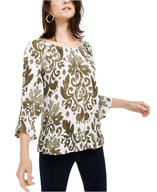 INC International Concepts INC Blouson-Sleeve Peasant Top, Created for Macy's