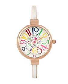 Betsey Johnson Multi-Colored Optical Dial & White Enamel Bangle Bracelet Watch 32.5mm