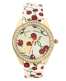 Betsey Johnson Cherry Printed Dial & Strap Watch 40mm