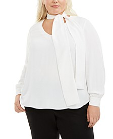 Trendy Plus Size Tie-Neck Blouse, Created for Macy's