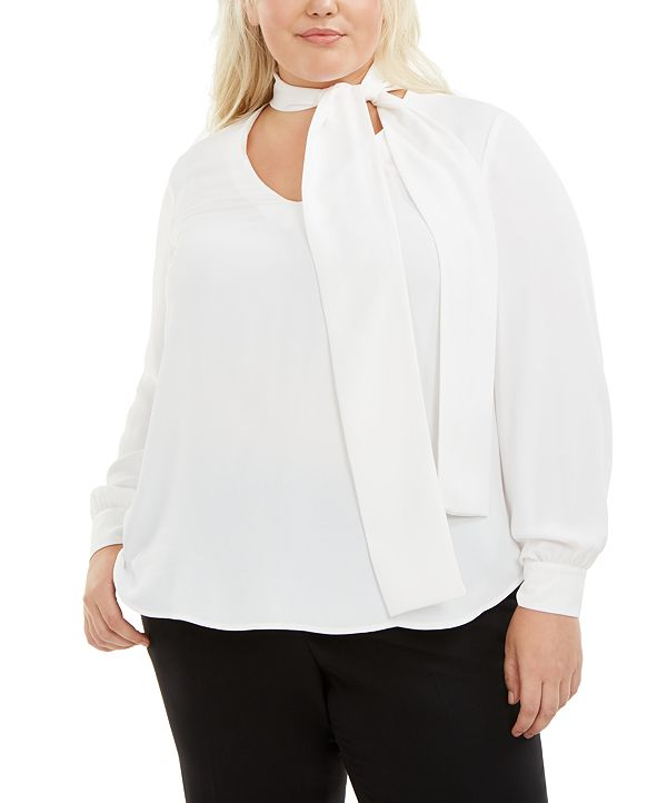 Bar III Trendy Plus Size Tie-Neck Blouse, Created for Macy's