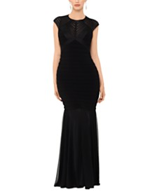 Betsy & Adam Open-Back Illusion Gown