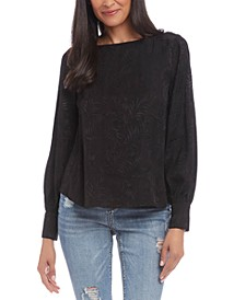 Jacquard Blouson-Sleeve Top