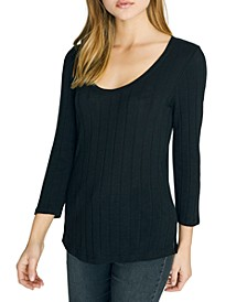 Ruby Scoop Ribbed 3/4 Sleeve Top