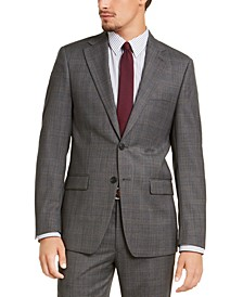 Men's Slim-Fit Stretch Gray Plaid Suit Jacket
