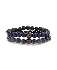 Men's Simulated Labradorite and Lapis Suo Stretch Bracelet Set