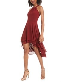 B Darlin Juniors' High-Low Chiffon Dress, Created for Macy's
