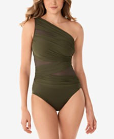 Network Jena One-Shoulder Allover-Slimming One-Piece Swimsuit