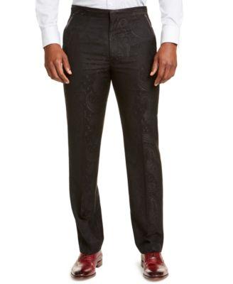 Men's Classic-Fit Black Paisley Suit Pants