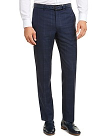 Men's Classic-Fit Airsoft Stretch Navy Blue Plaid Suit Pants