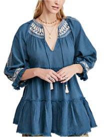 Free People Dreamweaver Embroidered Tunic Top