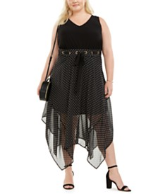 Love Squared Plus Size Polka-Dot Handkerchief-Hem Dress