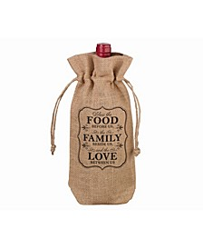 Rustic Burlap Food and Family Wine Bag