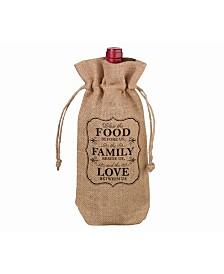 Lillian Rose Rustic Burlap Food and Family Wine Bag