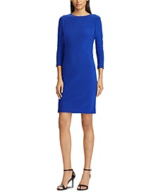 3/4-Sleeve Embellished-Placket Jersey Dress