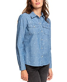 Juniors' Cotton Heart-Print Boyfriend Shirt