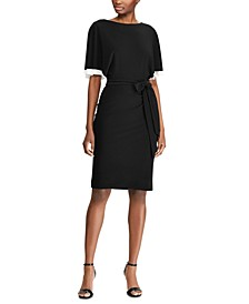 Tiered-Sleeve Belted Jersey Dress