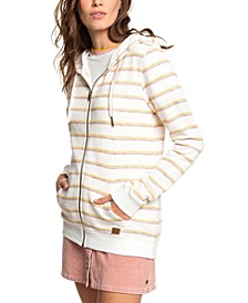 Juniors' Trippin Striped Zip-Front Hoodie