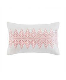 "Design Simona 12"" x 20"" Embroidered Cotton Oblong Decorative Pillow"