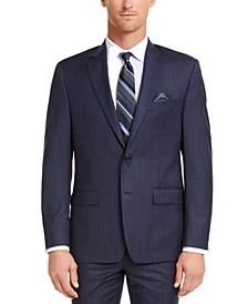Men's Classic-Fit UltraFlex Stretch Blue Check Suit Jacket