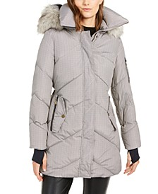 Plaid Hooded Faux-Fur-Trim Puffer Coat