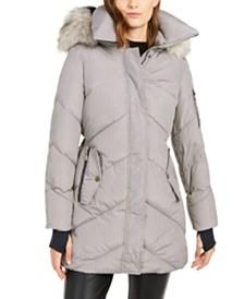 BCBGeneration Plaid Hooded Faux-Fur-Trim Puffer Coat