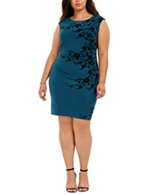 Jessica Howard Plus Size Velvet Flocked Sheath Dress