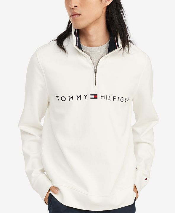 Tommy Hilfiger Men's Logo French Rib Quarter-Zip Pullover