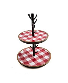 CLOSEOUT! 2-Tier Dessert Stand with Red Checker Plaid
