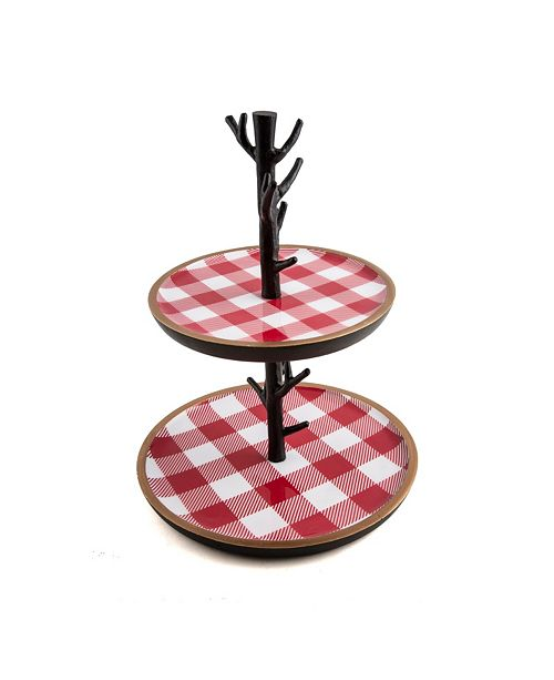 Thirstystone CLOSEOUT! 2-Tier Dessert Stand with Red Checker Plaid
