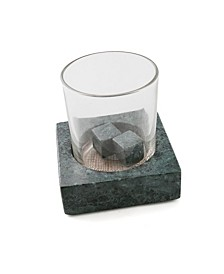 Green Marble Beverage Chiller with Glass and Whiskey Stone