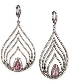 Hematite-Tone Crystal & Stone Multi-Row Drop Earrings