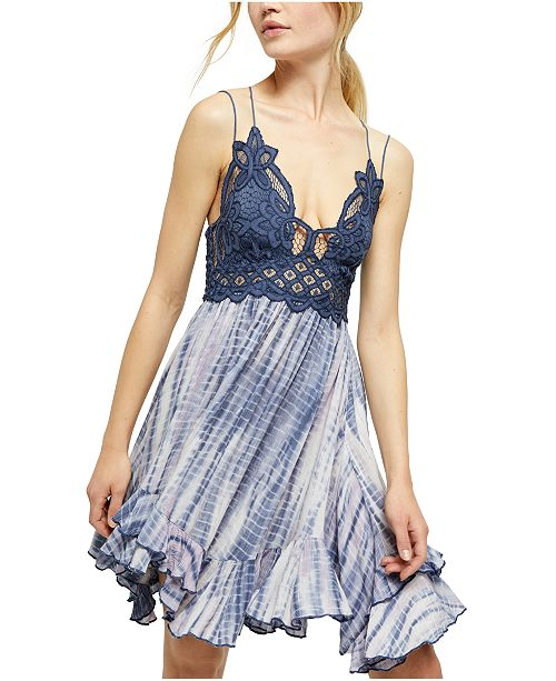 Free People Adella Lace Tie-Dye Mini Dress