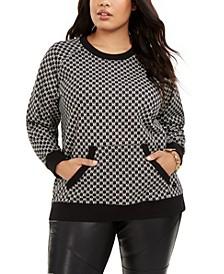 Plus Size Logo-Print Kangaroo-Pocket Sweatshirt