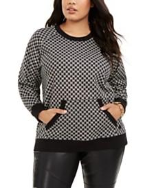 Michael Michael Kors Plus Size Logo-Print Kangaroo-Pocket Sweatshirt