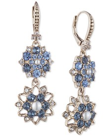 Marchesa Gold-Tone Crystal & Imitation Pearl Flower Double Drop Earrings