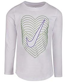 Little Girls Cotton Reverb Heart Swoosh T-Shirt