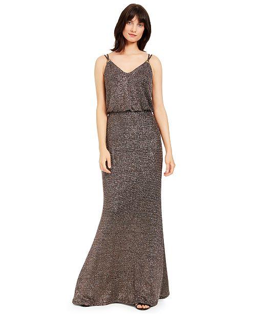 Calvin Klein Metallic Blouson Gown