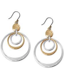 Lucky Brand Two-Tone Triple-Row Drop Hoop Earrings