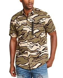 Men's Tiger Camouflage Military Flight Short Sleeve Shirt